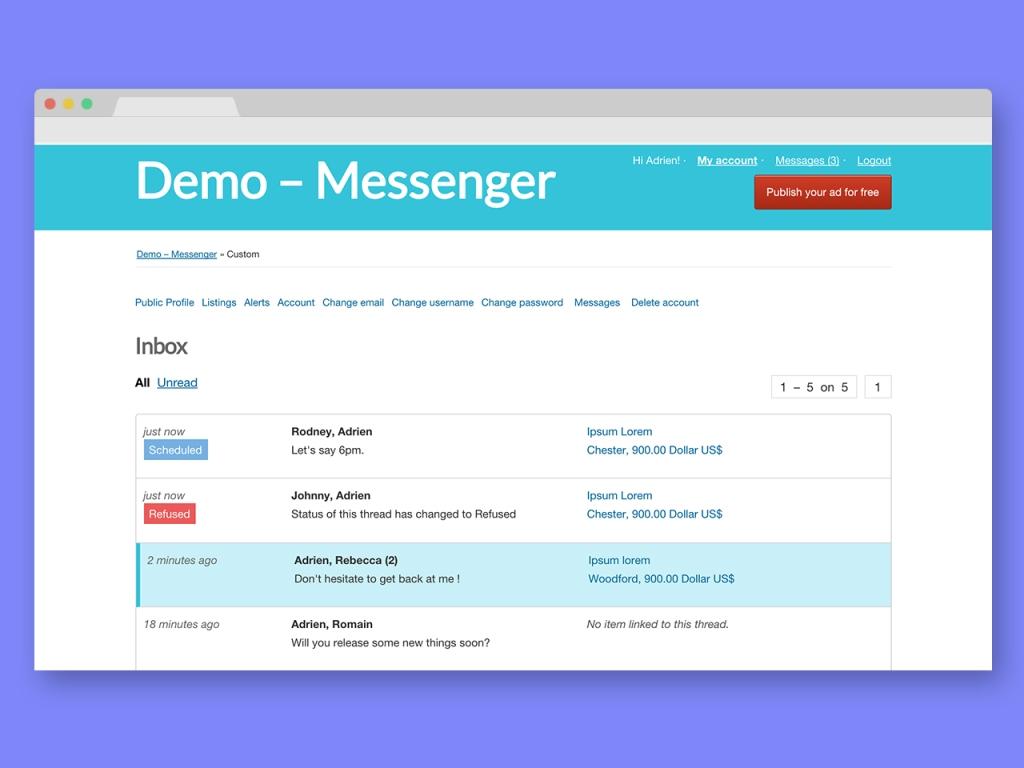 Personal Messaging Plugin For Osclass - Messenger - 3