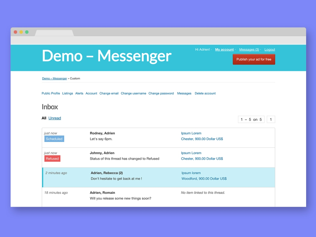 Personal Messaging Plugin For Osclass - Messenger - 3