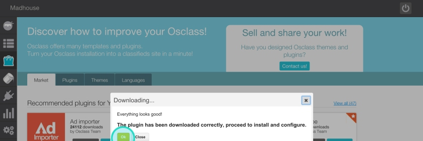 How to install an Osclass plugin manually - step 3