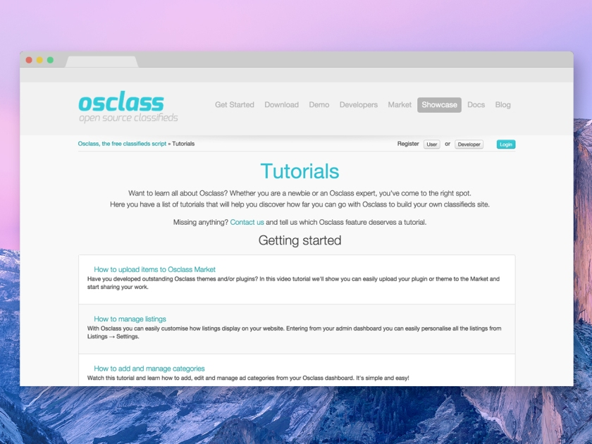 Osclass tutorials on the official website - Screenshot