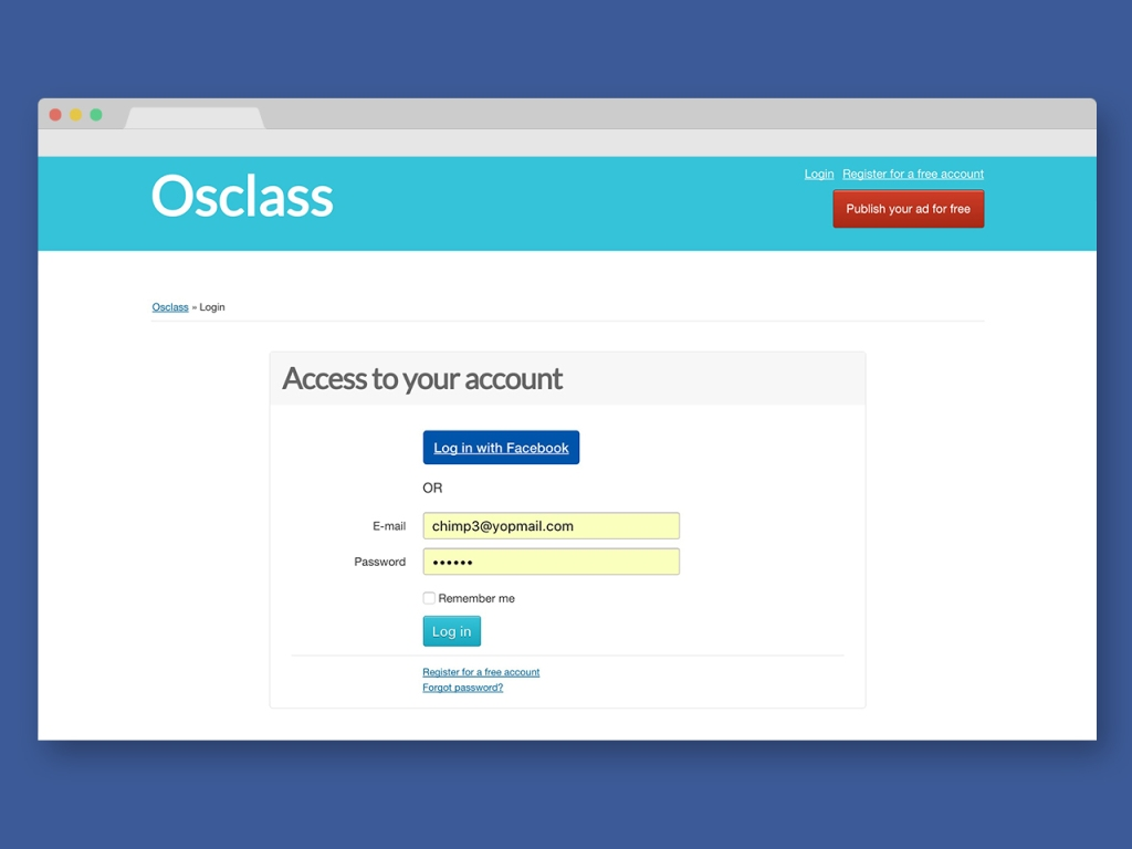 Facebook - Login Plugin for Osclass - 1