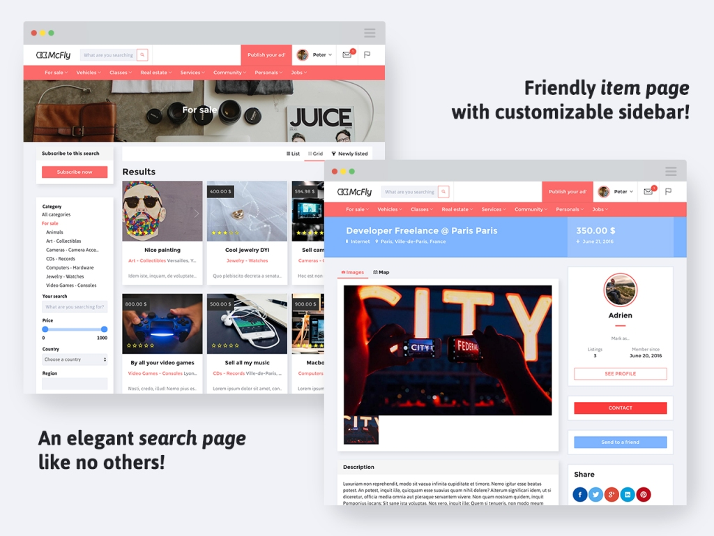 Mcfly - elegant search page and friendly item page