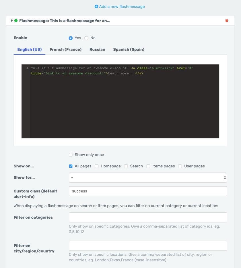 ThemeKitchen - Example of a widget of type Flashmessage